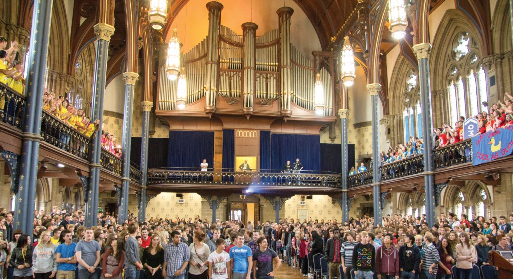 The official opening ceremony to Freshers' Week, The Freshers' Address, in the historic Bute Hall in the University's main building.